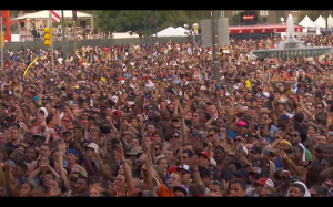 Even though it felt like 2 million degrees, the crowd kept the party going.